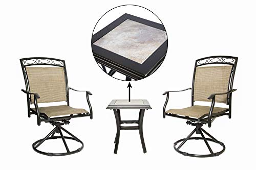 LUCKYBERRY 3 PC Swivel Chair Set Patio Bistro Set with 2 Chairs and 1 Table, Brown