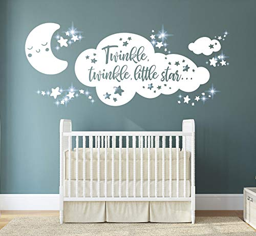 tjapalo® pkm481 Wandtattoo twinkle twinkle little Star Aufkleber für Kinderzimmer Babyzimmer inkl. Glitzersteine Mond Sterne Wandsticker, Größe: B58xH24cm, Farbe: lindgrün