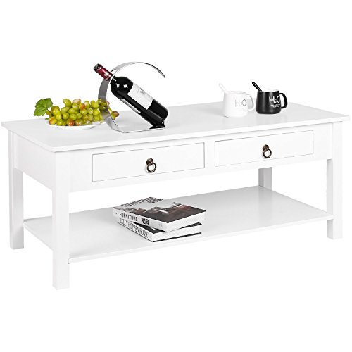 Homfa Coffee Table Center Table with 2 Drawers and Shelf Living Room Table Modern Desk White 110x53x45cm