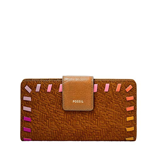 Fossil Women's Logan Leather RFID Tab Clutch Wallet, Tan