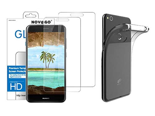 NOVAGO Compatible con Huawei P8 Lite 2017 Estuche Blando Transparente + 2 Protectores de Pantalla de Vidrio Templado (Transparente)
