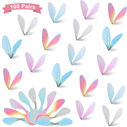 Boao 100 Pieces Dragonfly Wing Charms DIY Wings Crafts Dragonfly Flying Decoration in Multi Colors for DIY Art Craft Women Earring Pendant Jewelry Making