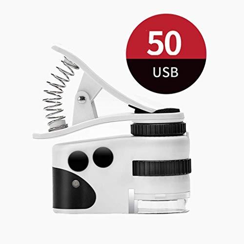Tragbares Glas mit leichtem Schmuck Lupentasche Handmikroskop LED Tragbar Am besten für Schmuck, Diamanten, Edelsteine, Münzen, Briefmarken Identifizierung (Farbe: 50X)