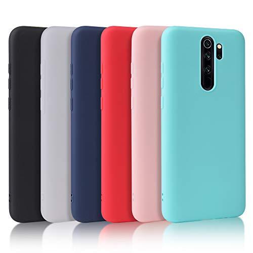 Oureidoo 6X Funda Xiaomi Redmi Note 8 Pro, Carcasa en Silicona - [ Negro + Blanco Translúcido + Azul Claro + Rojo+ Rosado+ Menta Verde ]