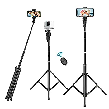 """Selfie Stick Phone Tripod 52"""" Extendable & Portable Selfie Stick with Tripod Stand and Wireless Remote Compatible with Smart Phones GoPro and More"""