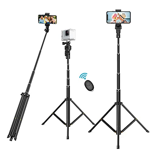 """Selfie Stick Phone Tripod, 52"""" Extendable & Portable Selfie Stick with Tripod Stand and Wireless Remote, Compatible with Smart Phones, GoPro and More"""