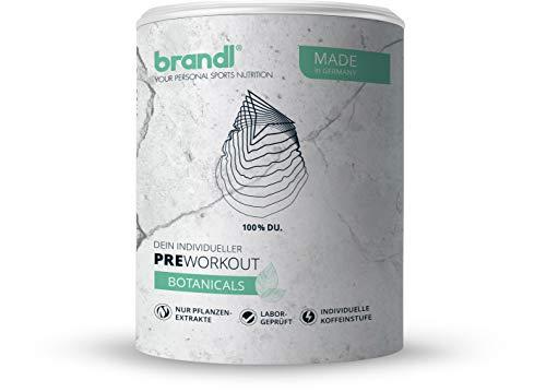 Brandl Nutrition Pre-Work-Out Booster Shake Botanicals | individualisierbar | vegan | nur pflanzliche Rohstoffe | Koffeinstufe 3 für 121-130kg (172mg Koffein pro Portion)| 150gr