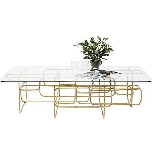 Kare Design Couchtisch Meander Gold, 140x80cm, moderner Couchtisch mit Gestell in Gold und abgerundeter Glasplatte, Coffeetable für das Wohnzimmer