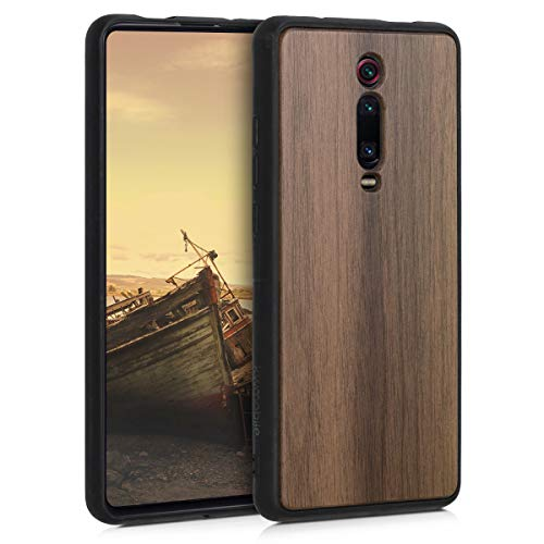 kwmobile Cover Compatibile con Xiaomi Mi 9T (PRO) / Redmi K20 (PRO) - Custodia Rigida con Bumper in Silicone TPU Hard-Case in Marrone Scuro - Cover Protettiva