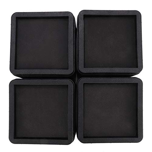 VOBOR 4PCS Durable Stackable Bed Risers Black Square Moisture-proof Insect-proof Furniture Legs Sofa Leg