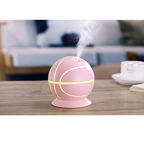 Raxinbang Humidificadores Humidificador De Baloncesto Creative Colorful Night Light Home Mute Desktop Student Mini USB Humidificador (Color : Pink)