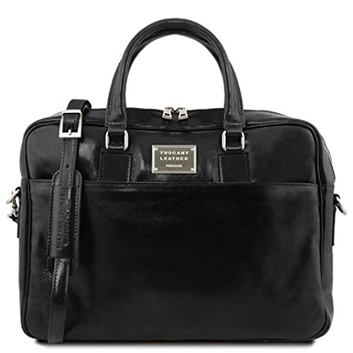 Tuscany Leather Urbino - Cartable en Cuir Porte Ordinateur avec Poche Frontale - TL141241 (Noir)