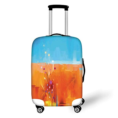 Travel Luggage Cover Suitcase Protector,Watercolor Flower Home Decor,Meadows under Blue Sky Natural Beauty Floral Illustration,Orange Purple,for TravelL 25.9x37.8Inch