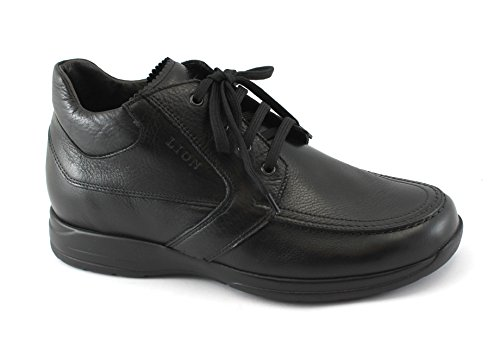 LION 8496 nero scarpe uomo polacchini scarponici mid lacci pelle 44