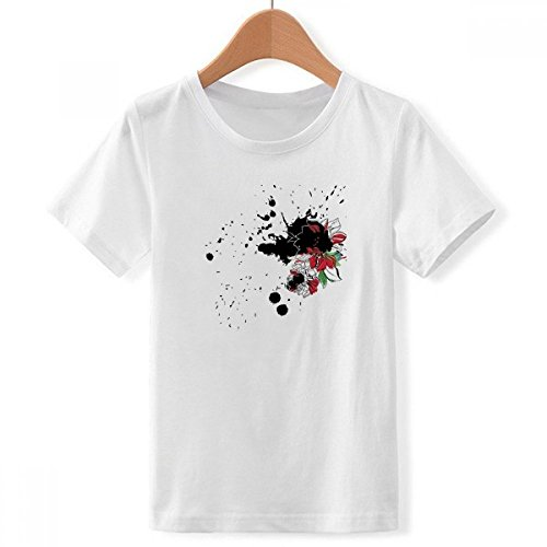 DIY thinker jongens aquarel inkt bloem plant pioenroos met ronde hals wit T-shirt