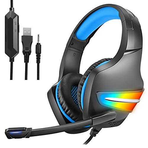 TONGHUA J6 Head-mounted Gaming Headset Com Microfone, Fones de ouvido estéreo com redução de ruído com fio, Luz LED incandescente colorida para computador Fones de ouvido para PC-Azul