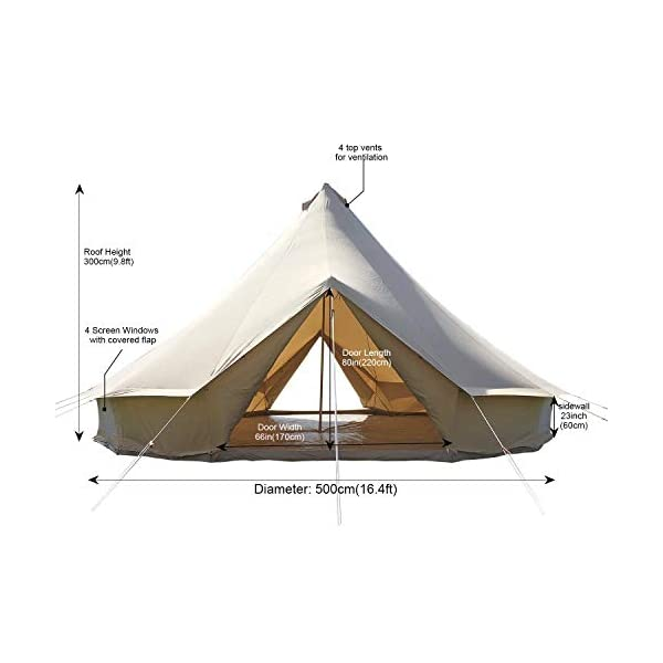 Canvas Bell Tent Gazebo Outdoor Event Canopy Sun Shelter Tarp Garden Event Tents 2