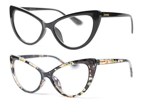 SOOLALA Womens Oversized Fashion Cat Eye Eyeglasses Frame Large Reading Glasses, BlackYellow, 2.5D