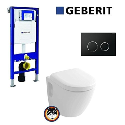 Geberit Duofix UP 320 Vorwandelement mit Sigma 20 schwarz, Toto CW762Y Wand WC TORNADO FLUSH, WC Sitz Softclose