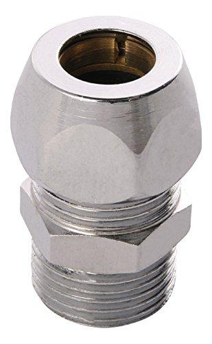 Quetschverschraubung   Kupplung mit 1 Außengewinde und 1 Quetsche   3/8 Zoll x 10 mm   Für Kupfer-Rohre   Anschluss von Armaturen   Verchromt