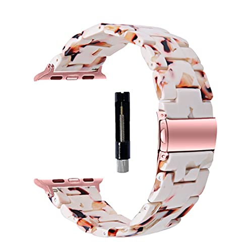 SANXIULY Compatible with Apple Watch band 38mm 40mm 42mm 44mm, iwatch Resin Bands for women Compatible for apple watch series 6 5 4 3 2 1 se Color Nougat White.