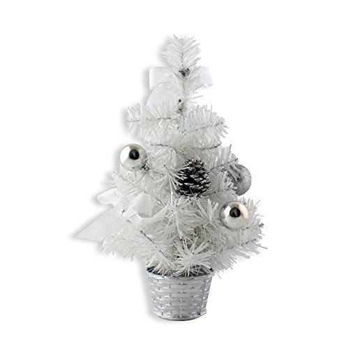 IDS Home 12inch Mini Desk Top Table Top Decorated Christmas Tree with Bows & Baubles Ornaments Decorations, White