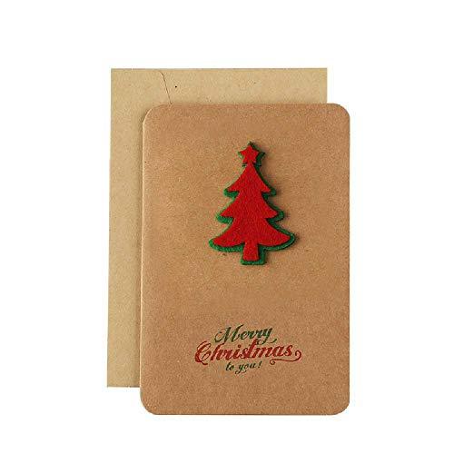 Vintage Kraftpapier Weihnachtskarte Handgemachte Dreidimensionale Segen Thanksgiving Weihnachtssegen Geschenkkarte Mit Umschlag (6 * Stück) Weihnachtsbaum