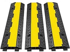 VEVOR 3 Pak van 2 11000 lbs per as Capaciteit Beschermende draad Koord Oprit Rubberen Verkeersdrempels Kabelbeschermer