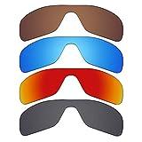 Mryok - Lentes polarizadas de repuesto para gafas de sol Oakley Turbine Rotor, 4 pares, color negro, rojo fuego, azul hielo, marrón bronce