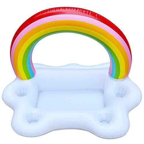 LUYION Aufblasbarer Becherhalter Regenbogenwolke Getränke Trinken schwimmt Spielzeug für Schwimmbad Strand