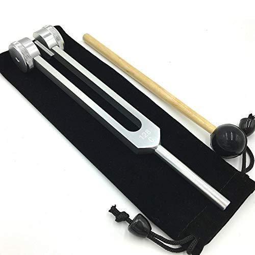 128Hz Aluminiumlegierung Silber Stimmgabel Chakra Hammer Ball Diagnosewerkzeug for Sound Healing Therapy Musikinstrument Zubehör