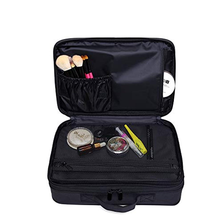 爆発物地図熟読するメイクボックス 大容量 コスメボックス プロ用 持ち運び便利 高品質3層化粧箱 收納抜群コスメ収納 多機能 旅行用 ブラック