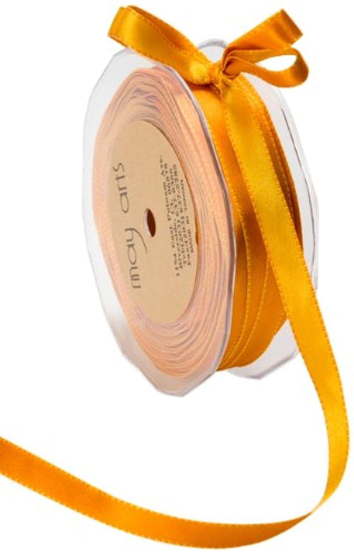 May Arts 3/8-Inch Wide Ribbon, Orange and Yellow Satin