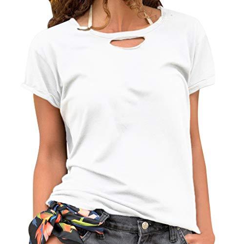 Damen Sommer T-Shirt Freizeit V-Ausschnitt Frauen Sexy Bedruckt Stretch Weste Schnüre Schlankes Tee Polyester Hemden Yoga Übergroße Lose Kurzarm Bluse Tops (EU:36, Weiß)
