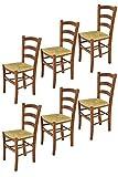 Tommychairs - Set 6 sedie modello Venice per cucina bar e sala da pranzo, robusta struttura in legno di faggio color noce chiaro e seduta in paglia