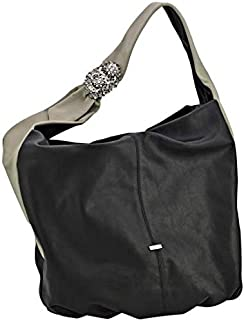 Kaizer KZ1864BLK Leather Shoulder Bag for Women - Beige and Black
