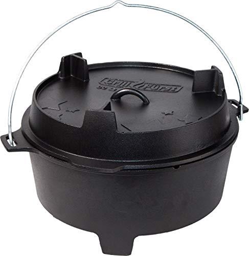 Grillfürst Dutch Oven BBQ Edition DO 12 (ca. 12 Liter) - Gusseisen Feuertopf - Kochtopf- Schmortopf - Gusseisentopf mit Standfüssen