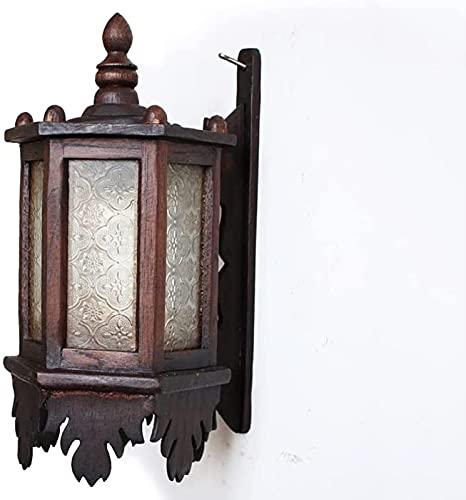 Hadunoi Aplique de Pared Vintage Lámpara de Pared Decorativa de inspiración asiática con Pantalla Cuadrada - Apliques de Pared Retro Chinos de Madera Maciza para Dormitorio, Sala de Estar, Dormitorio