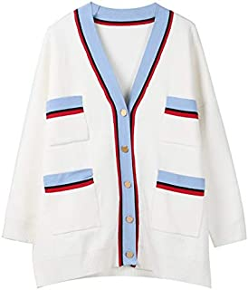 YXHM A New Spring Stripe Double Pocket Loose Long-Sleeved Knit Cardigan Jacket Women (Color : White, Size : M)