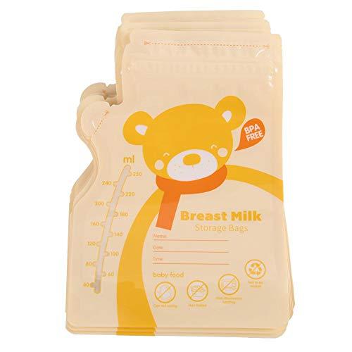 Bolsas de almacenamiento de leche materna, 30PCS 250ML Bolsa de almacenamiento de leche materna Bolsa de leche sellada desechable Bolsa para alimentos de bebé (Yellow)