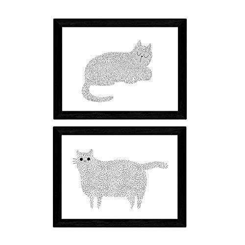 Set van 2 vellen van twee katten met zwarte en witte lijnen op papier in A4-formaat 250 gr hoge kwaliteit. frameloze