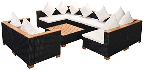Garden Sofa 27 Sets of Black Wood Leisure Garden Furniture,Black