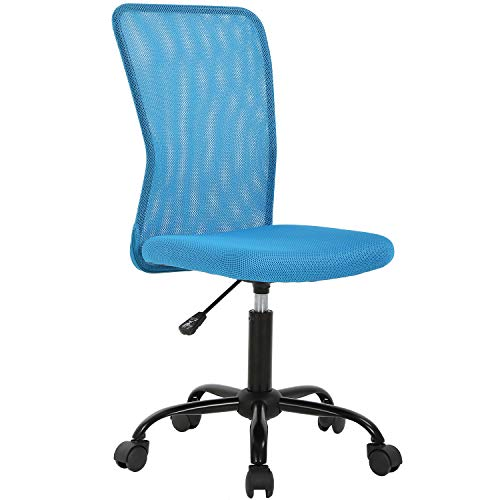 Ergonomic Office Chair Mesh Computer Chair Small Desk Chair Back Support Lumbar Support Modern Executive Adjustable Chair Mid Back Task Rolling Swivel Chair with Wheels Armless (Blue)