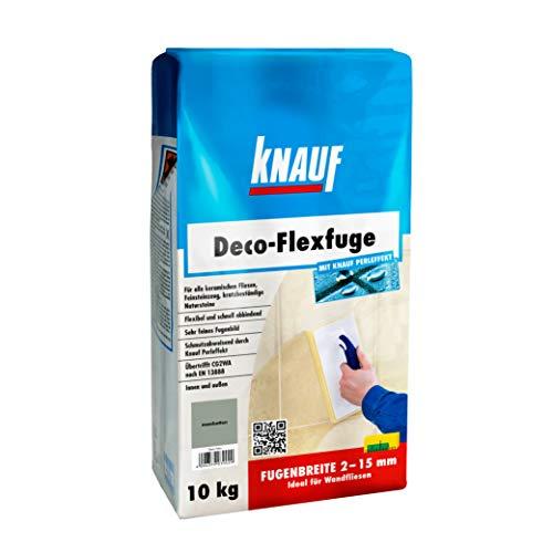 Knauf Deco-Flexfuge – Wand Fliesen-Mörtel auf Zement-Basis: pflegeleicht dank Knauf Perleffekt, schnell-härtend, passend zur Fliesenfarbe, Manhattan, 10-kg