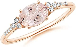 Horizontally Set Oval Morganite Solitaire Ring with Trio Diamond Accents (7x5mm Morganite)