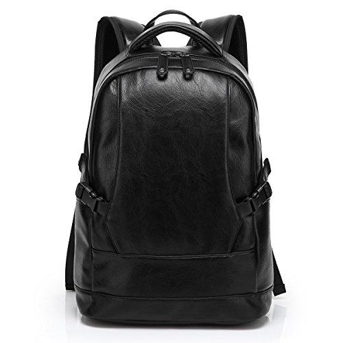 BAOSHA BP-06, in pelle sintetica PU per Laptop College-Zaino per la scuola, con zaino, colore: nero