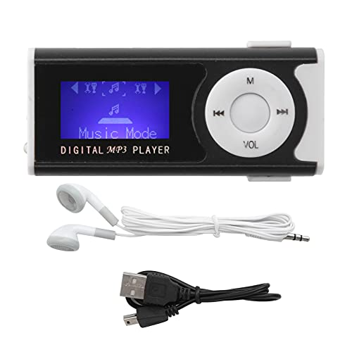 Lettore Musicale MP3 Torcia LED Lettore Musicale Solido e Durevole Portatile Facile da Usare Clip Posteriore Back(Nero)