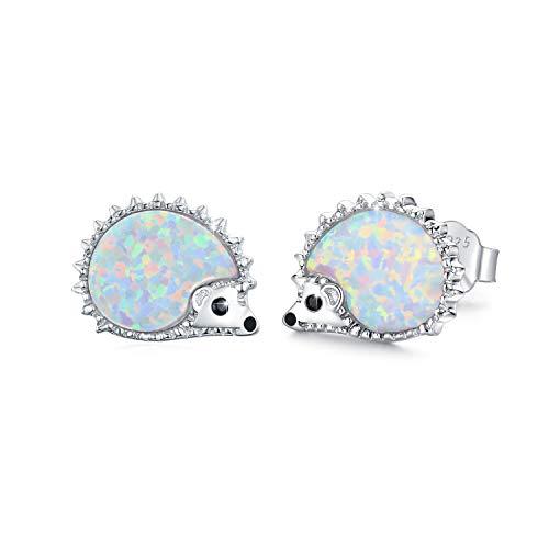 925 Sterling Sliver Hedgehog Earrings for Girls Opal Hedgehog Stud Earrings...