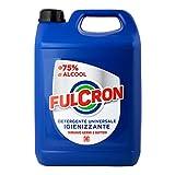 Fulcron Detergente Universale Igienizzante 5 l igienizzante spray a base alcolica alta concentrazione, spray detergente tutte le superfici, rimuove germi e batteri, senza risciacquo, profumo limone