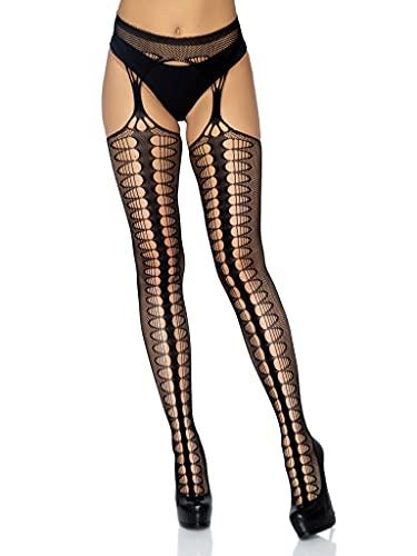 Leg Avenue Hosiery Collection Universal Black Scale Net Suspender Hos